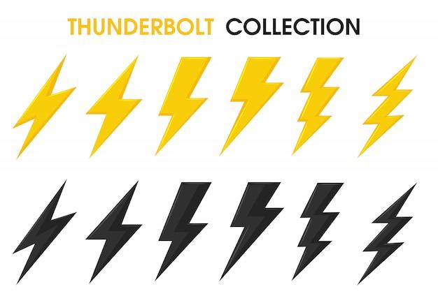 Trovão e parafuso iluminação flash vector conjunto de coleta.