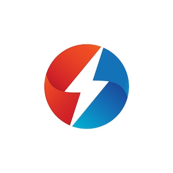 Trovão no modelo de design de logotipo de forma de círculo