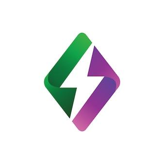 Trovão no modelo de design de logotipo geométrico