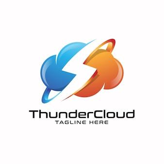 Trovão relâmpago e logotipo da nuvem