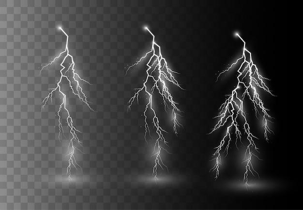 Trovoada e relâmpagos, efeitos de iluminação brilhantes.