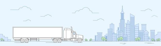 Truck car on road transporte de carga entrega conceito banner