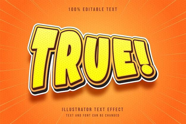 True3d editável efeito de texto amarelo gradação laranja estilo sombra moderno