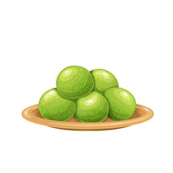 Trufas doces verdes com matcha em uma ilustração de placa.