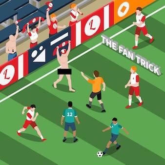 Truque de ilustração isométrica de fã de esportes