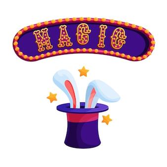 Truque de mágica com ilustração plana de coelho