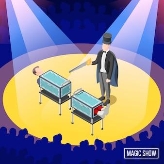 Truque de mágica no palco com serragem de caixa com assistente