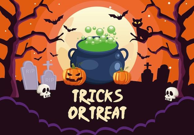 Truques de halloween ou letras deleites com bruxa caldeirão no cemitério