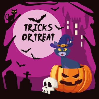 Truques de halloween ou letras deleites com o gato na abóbora e no castelo