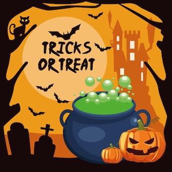 Truques de halloween ou letras guloseimas com bruxa caldeirão