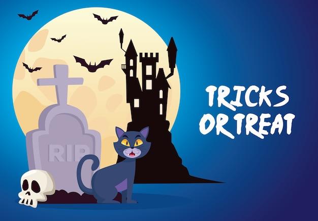 Truques de halloween ou letras guloseimas com castelo e gato no cemitério
