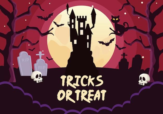 Truques de halloween ou letras guloseimas com castelo no cemitério