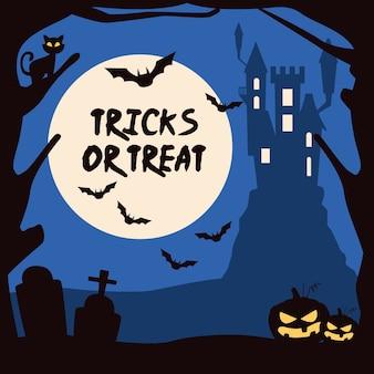 Truques de halloween ou letras guloseimas com castelo