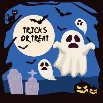 Truques de halloween ou letras guloseimas com fantasmas e abóboras no cemitério