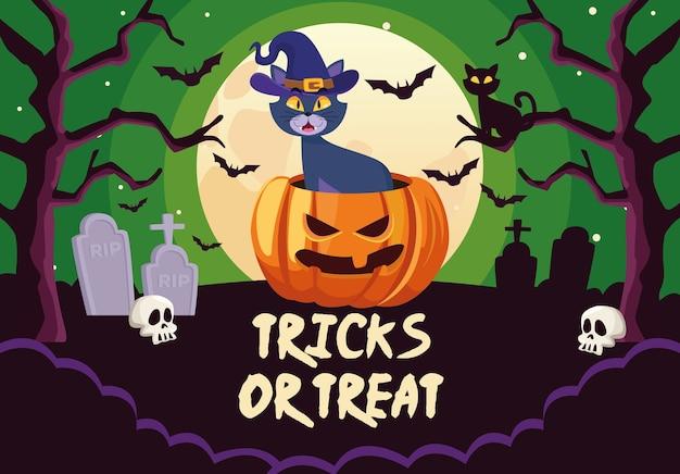 Truques de halloween ou letras guloseimas com gato na abóbora
