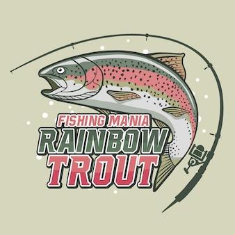 Truta de arco-íris de mania de pesca