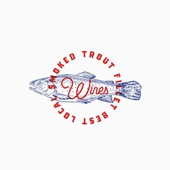 Truta defumada abstrato sinal, símbolo ou logotipo modelo com peixe de mão desenhada e tipografia retrô.