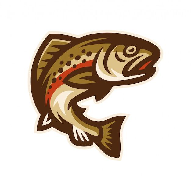 Truta peixe logotipo mascote modelo ilustração vetorial