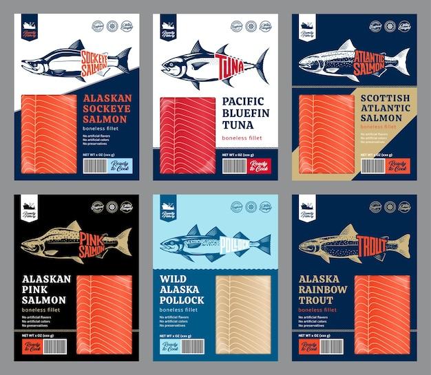 Truta salmão atum e design de embalagem pollock