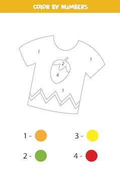 Tshirt bonito dos desenhos animados da cor por números. página para colorir para crianças.
