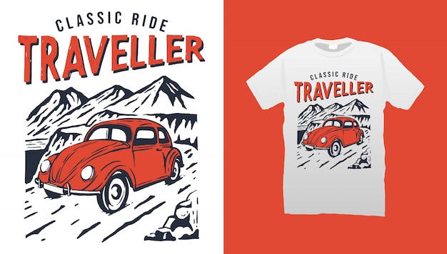 Tshirt clássico do viajante do passeio
