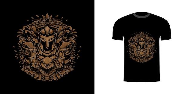 Tshirt desenho ilustração cavaleiro com gravura ornamento