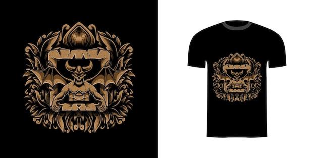 Tshirt desenho ilustração demônio com gravura ornamento