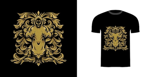 Tshirt design demon skull com gravura ornamento