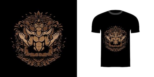 Tshirt design ilustração super-herói com máscara