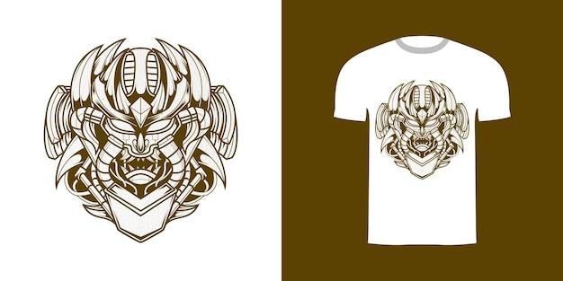 Tshirt design linha arte ilustração robô crânio com textura grunge