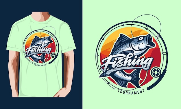 Tshirt pesca torneio estilo vintage ilustração premium vector