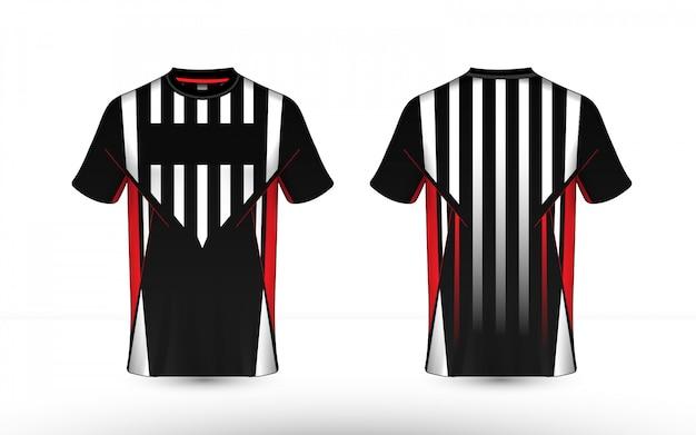 Tshirt preto, vermelho e branco do esport