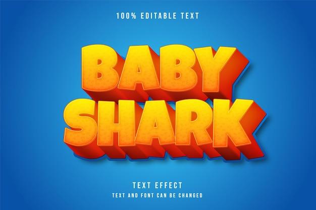 Tubarão bebê, efeito de texto editável em 3d gradação amarela laranja azul estilo de texto em quadrinhos
