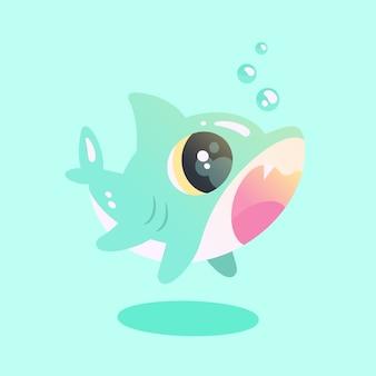 Tubarão bebê em design plano