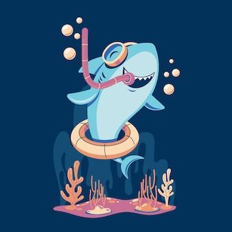 Tubarão bebê em estilo cartoon