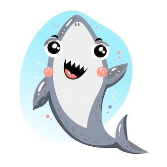 Tubarão bebê fofo no conceito de estilo cartoon