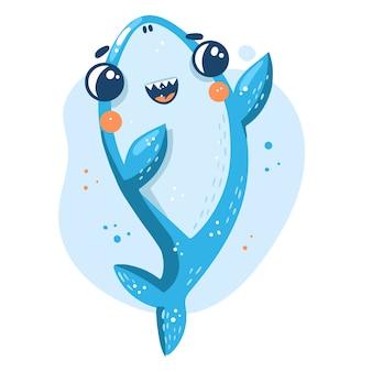 Tubarão bebê fofo no design de estilo dos desenhos animados