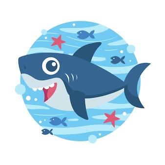 Tubarão bebê no conceito de estilo cartoon