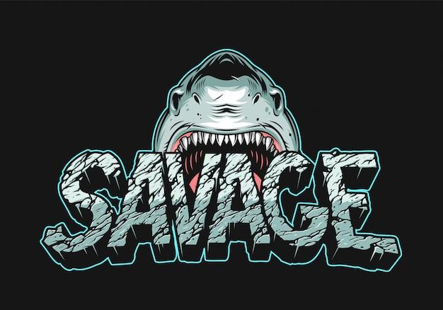 Tubarão bravo colorido segurando letras selvagens