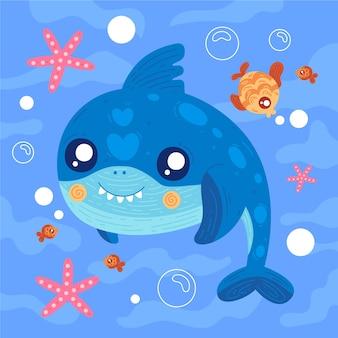 Tubarão com dentes e peixes pequenos