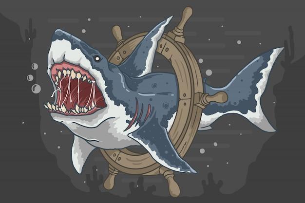 Tubarão com predador de rosto zangado de âncora