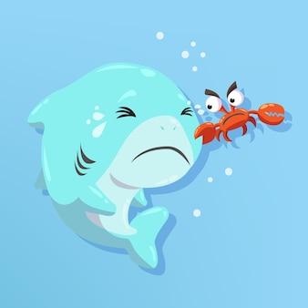 Tubarão de bebê design dos desenhos animados
