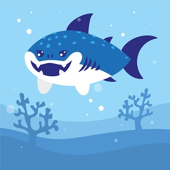 Tubarão de bebê design plano