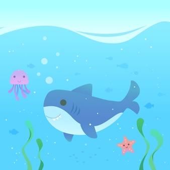 Tubarão de bebê fofo design plano no mar