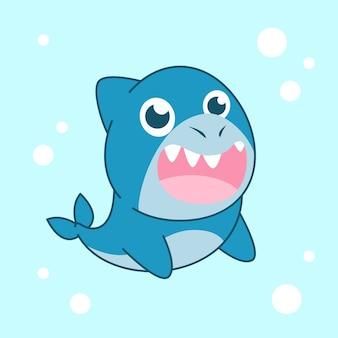 Tubarão de bebê fofo design plano