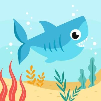 Tubarão de bebê fofo estilo simples