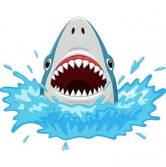 Tubarão de desenho animado com mandíbulas abertas, isolado no branco