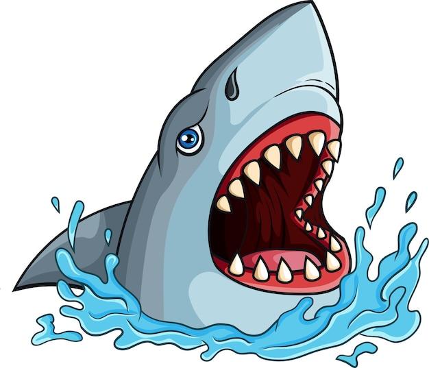 Tubarão de desenho animado com mandíbulas abertas