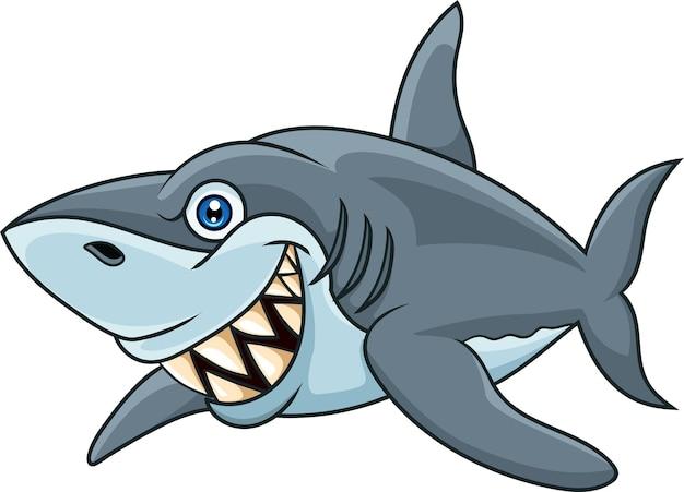 Tubarão de desenho animado isolado no fundo branco