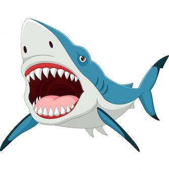 Tubarão de desenhos animados com a boca aberta